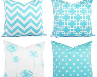 Teal Decorative Throw Pillow Cover - Teal and White Pillow - Teal Couch Pillow - Aqua Pillow - Blue Pillow Cover - Teal Throw Pillow