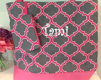Personalized monogrammed pink and gray Moroccan tote bag, Moroccan beach bag, monogrammed beach bag, monogrammed gift Quatrefoil bag