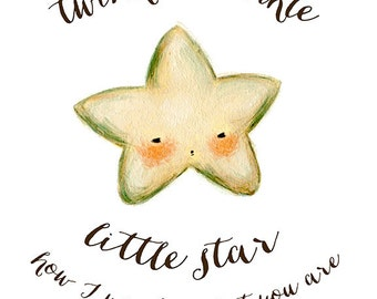 Twinkle Twinkle Little Star Print 8x10 - Children's Art, Nursery Art, Star, Kids Decor, Quote, Night, Bedtime, Baby, Cute, Kids, Pink, Blue