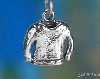 Sterling Silver Sweater Charm Winter Clothing Sweaters 3D Solid .925