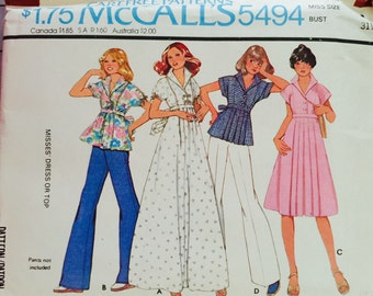 "McCall's 5494, Size 8, Bust 31 1/2"",  Misses' Dress or Top Pattern, UNCUT,Vintage 1977, Retro, Flashback, Fashion, casual Wear"