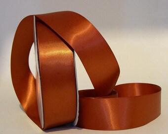 1.5 x 25 yds Single Face Satin Ribbon -- RUST