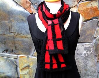 Nuno felt scarf, linear design in shades of red