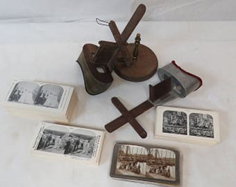Pair of Vintage Stereoscope 3D Card Viewers with 700 Slides