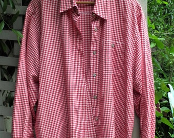 Women's Large Shirt/ Red and White Check Shirt/ Cowgirl Chic/ Thrifted Couture/ Farmhouse Chic/ Retro Clothing/ Shabbyfab/Thrifted Funwear