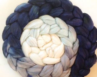 Little Blue Hand Dyed roving 3.5ozs polwarth mulberry silk 70/30 made to order