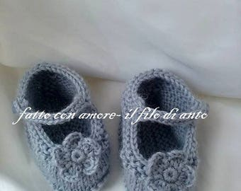 Ballerina shoes in pure wool 100% with flower