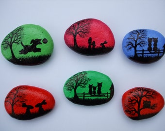 Painted Pebbles Magnets: Animals Art Painting on Stones, Painted Rocks, Animal Magnets, Pebble Art, Hand painted Stone, Rock Painting Animal