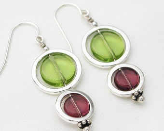 Double circle earrings - wine country