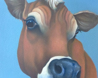 """jersey cow painting """"Thinking"""""""