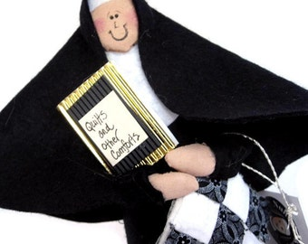 Woman quilter nun doll, fun Catholic gift, quilt enthusiast, stitching sister, sewing room decor, quilt block accent,  Sister Maida Block