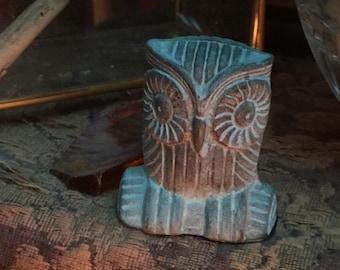 Vintage Verdigris Patina Green Bronze Metal Small Owl Figurine Statue Folk Art