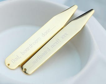 Engraved Gold plated Collar Stiffeners, Personalised Collar Stiffeners, Engraved Collar Stays, Bespoke Men's Gift, Personalised Groom's Gift