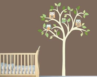 Owl tree wall decal, Nursery Wall Decal, Owl tree wall sticker, Owl Nursery Art, owl wall decal, nursery owl decor, Timothy Design