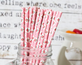 Pink with Rose Paper Straws, Beautiful Straws for Wedding or Birthday Celebration, Heart Straws, Pink , Paper Straws, Wedding Straws