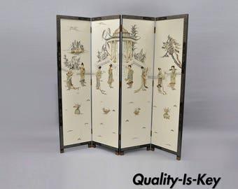 Oriental Carved Soapstone Geisha Girl Dressing Screen Room Divider 4 Panel Vintage