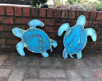 Turtle Wood Sign Wall Art Honu Beach House Cottage Nautical Sign by CastawaysHall - Ready to Ship