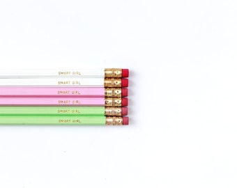 Set of Six White, Pink and Mint Gold Foil Pencils, Quote Pencils, Engraved Pencils, Pink Pencils, Gifts for Her, Funny Pencils, Boss Gift