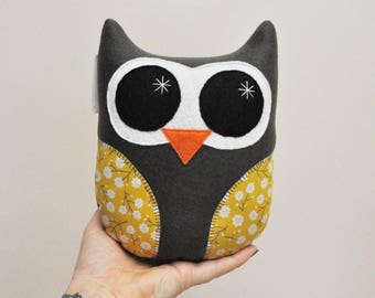 Dark Gray Plush Owl With Yellow Floral Wings - READY TO SHIP