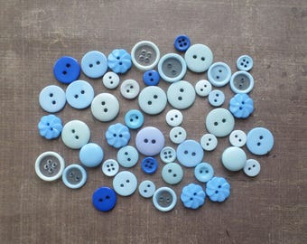 50 buttons round color shade blue