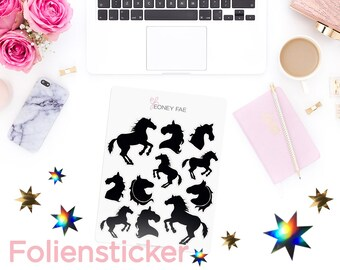 Foiled Shadow horses Stickerset-Watercolour sticker-Pretty planning-scrapbooking-bullet journaling