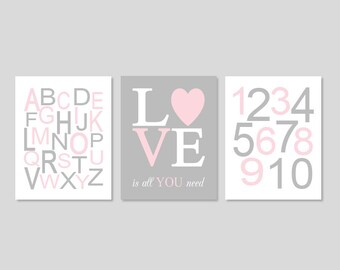Pink Gray Nursery Wall Art Prints Or Canvas Girl Nursery Decor Alphabet Print Numbers Girl Nursery Pictures Love Is All You Need Set of 3
