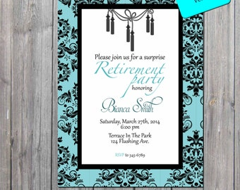 Retirement Invitation, Adult Party Invitation, retirement party Invitations DIGITAL FILE also available professionally printed