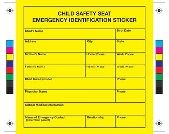 I.D. ME Emergency Information for Child Safety Seat - 2 STICKERS