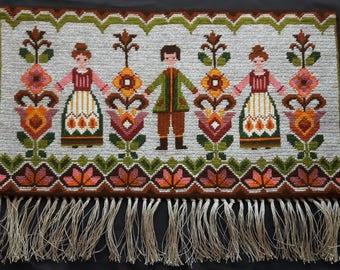 Vintage Scandinavian Embroidery Wall Hanging Folk Pattern