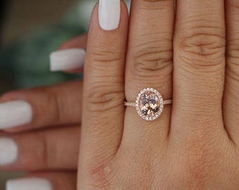 9x7mm Oval Morganite Engagement Ring,Rose Gold Engagement Ring, Promise Ring, Diamond Wedding Band, Half Eternity Band 14k Rose Gold