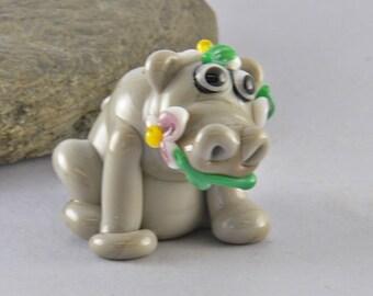 HIPPOPOTAMUS  sculpture  lampwork glass bead,  whimisical lampwork focal bead, Izzybeads SRA