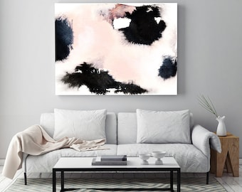 "Abstract Painting ""Soft Memories"" by Jules Tillman Fine Art Lustre Print modern abstract watercolor painting white soft pink black minimal"