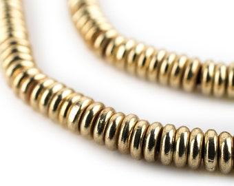220 Smooth Brass Heishi Beads: Ethnic Metal Beads Metal Spacer Beads Ethnic Brass Beads Heishi Shaped Beads Handmade Beads (MET-HSH-BRS-594)