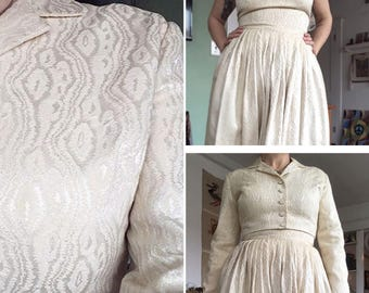 Vintage 50s dress Jonathan Logan off white party dress with bolero adjustable straps as is
