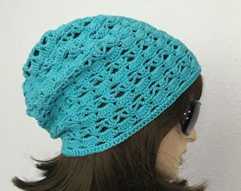 Women Crochet Summer Hat Women Summer Slouchy Beanie in Aqua Blue Cotton Yarn Women Spring Hat