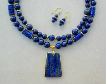 Luscious Lapis Pendant & Beads, 2-Strands - 1 Detachable, Gold Vermeil Spacers/Clasp, Versatile Investment Necklace Set by SandraDesigns
