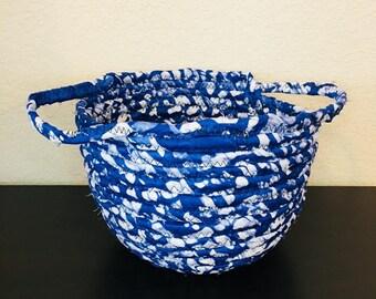 DRA Basket - fabric basket - aftican basket w/handles - blue/white