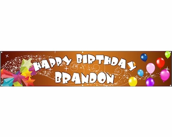 Birthday Orange Vinyl Banner Single Sided with Grommets