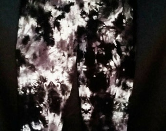 Tie Dye Capri Leggings/Hand Dyed/Black, Grey & White/Eco-Friendly Dying