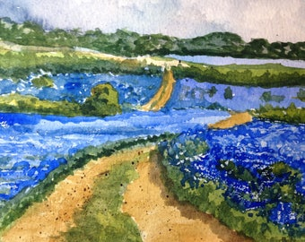 Fields of blue original watercolor