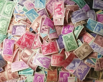 50 vintage unused 3-cent 1940s-1950s postage stamps. All different. Face value = 1.50 dollars.