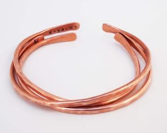 Copper Cuff Bracelets, 7 Year Anniversary Gift,  Personalized, Copper Bangles, Copper Anniversary Jewelry
