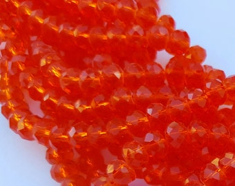 Glass Beads - 42 pcs - 6mm x 4 mm Beads - Orange Glass Beads - Faceted Glass Beads - Orange  Rondelles