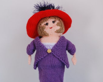 Fashionable lady in a red hat - stylish purple suit - diamond hat pins - collectable doll - birthday gift - club mascot - hand knitted doll