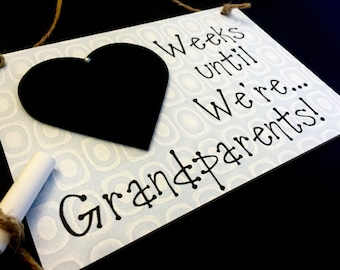 "Weekly Pregnancy Countdown, Pregnancy Reveal To Grandparents, (Smokey Green) ""Weeks Until..We're Grandparents!"", Pregnancy Reveal"