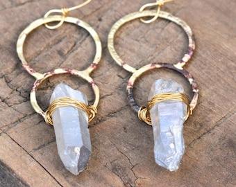 Circle Earrings Raw Crystal Earrings Hammered Brass Earrings Quartz Crystal Earrings Blue Crystal Earrings Big Earrings Unique Earrings