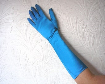 Turquoise Satin Gloves, Opera Gloves, Vintage Satin Gloves, Burlesque Gloves, Boudoir, Flapper, Evening Gloves, Cabaret, Wedding, Bridal