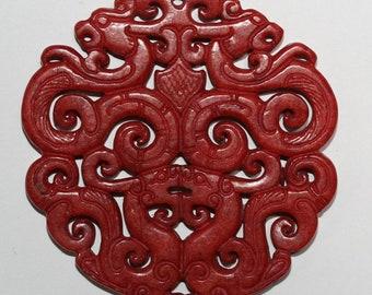 Big Carved Red Jade Pendant 68mm