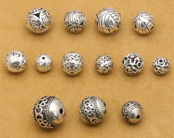 Vintage Style Thai Silver Round Spacer Beads (CY066)