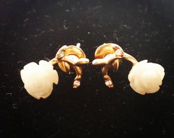 White Rose Stud Earrings // Gold Tone Vine with Rhinestones // Jewelry Gifts